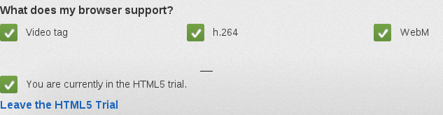 after entering the HTML5 trial on Youtube
